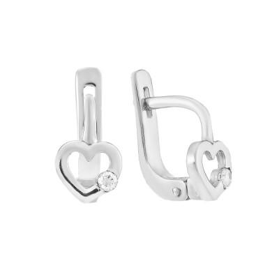 Сережки срібні Серце з фіанітами (СВ2001)