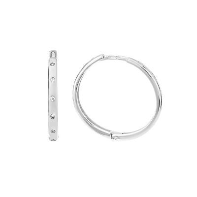 Сережки-кільця (конго) срібні з фіанітами (СВ2037)