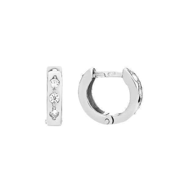 Сережки-кільця (конго) срібні з фіанітами (СВ214)