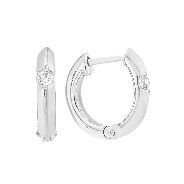 Сережки-кільця (конго) срібні з фіанітами (СВ222)