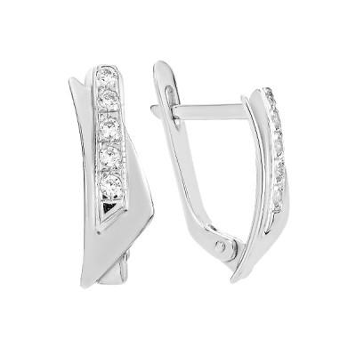 Сережки срібні фантазія з розсипом (СВ230)