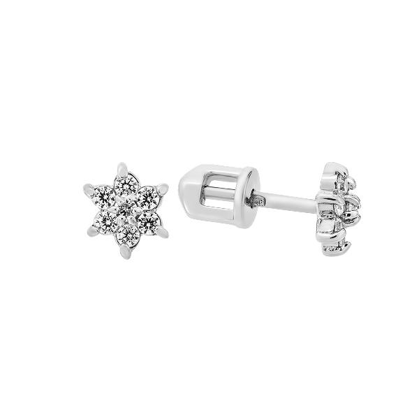 Сережки-пусети (гвоздики) срібні з фіанітами (СВ322)