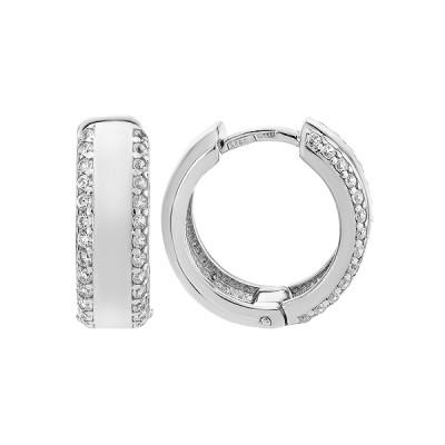Сережки-кільця (конго) срібні доріжка з фіанітами (СВ821)