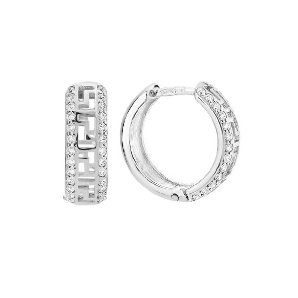 Сережки-конго срібні фантазія з розсипом (СВ823)