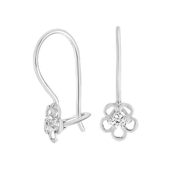 Сережки-петлі срібні Квітка з фіанітами (СВ914)