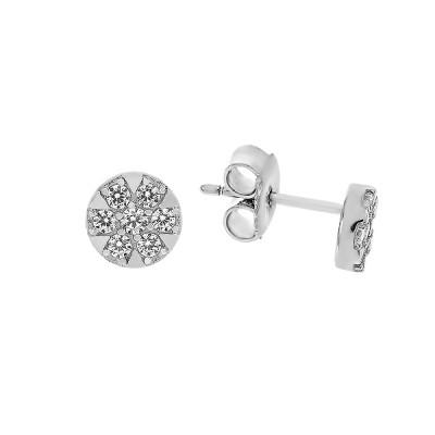 Сережки-пусети срібні з розсипом (TE1721)