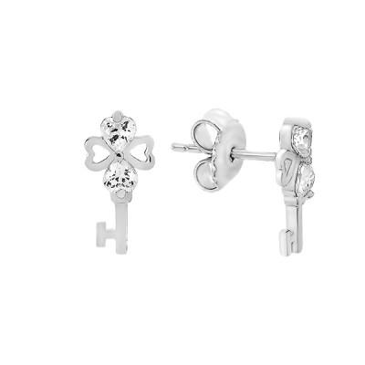 Сережки-пусети (гвоздики) срібні фантазія з фіанітами (TE3472)