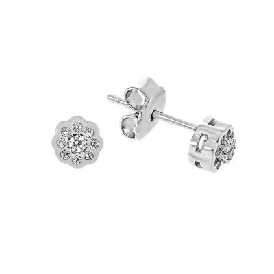Сережки-пусети срібні з фіанітами (TE3660)