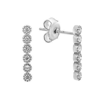 Сережки-пусети (гвоздики) срібні доріжка з фіанітами (TE3889)
