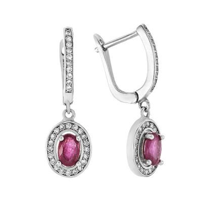 Сережки срібні з рубіном та фіанітами (Тд0051/руб-E)