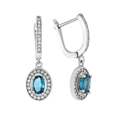 Сережки срібні з топазом london та фіанітами (Тд0051/топld-E)