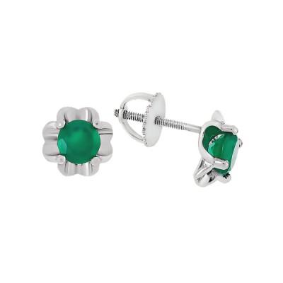 Сережки-пусети срібні з агатом (Тд0069/агат-E)