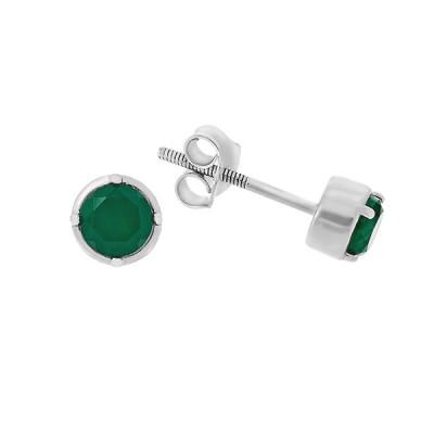 Сережки-пусети (гвоздики) срібні з агатом (Тд0070/агат-E)